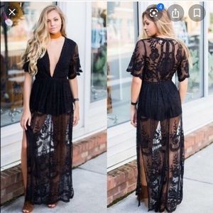 Honey Punch lace romper maxi